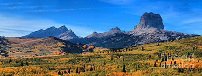 Fall Foliage At Chief Mountain Poster by Adam Jewell