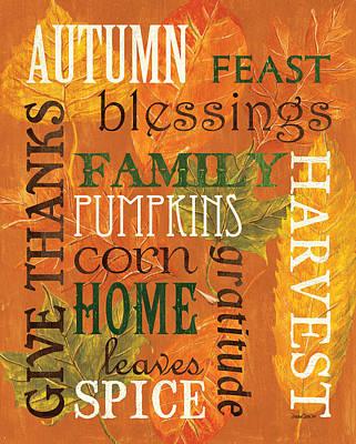 Fall Typography 1 Poster by Debbie DeWitt