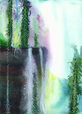 Falling Waters 1 Poster by Anil Nene