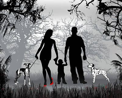 Family Walks With The Dogs Poster by Peter Stevenson