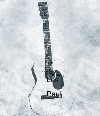 Famous Guitarists Typography Cool Poster by Dan Sproul