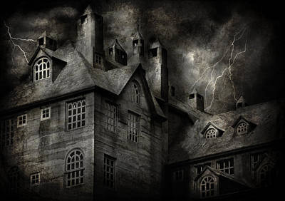 Fantasy - Haunted - It Was A Dark And Stormy Night Poster by Mike Savad
