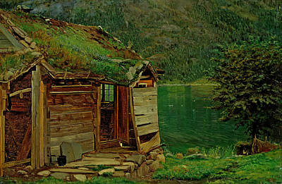 Farmhouse At Balestrand Poster by Amaldus Nielsen
