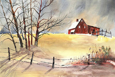 Farmhouse Bathed In Winter Sun Poster by Carol Helene