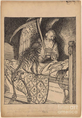 Father Time And Death Beside The Tomb Of A Lady  Poster by Celestial Images
