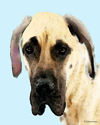 Fawn Great Dane Dog Art Painting Poster by Sharon Cummings
