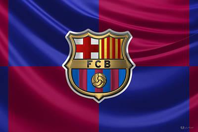 Fc Barcelona - 3d Badge Over Flag Poster by Serge Averbukh