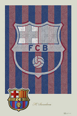 Fc Barcelona Logo And 3d Badge Poster by Serge Averbukh