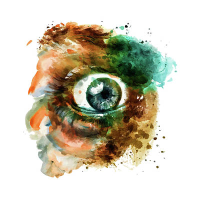 Fear Eye Watercolor Poster by Marian Voicu