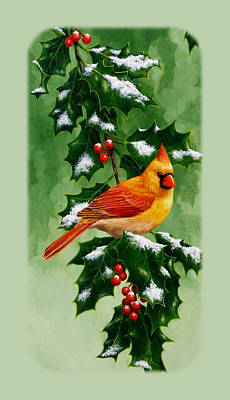 Female Cardinal And Holly Phone Case Poster by Crista Forest