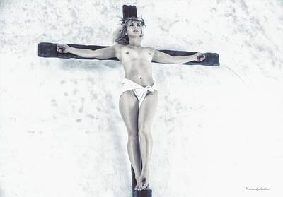 Female Jesus On Crucifix Poster by Ramon Martinez