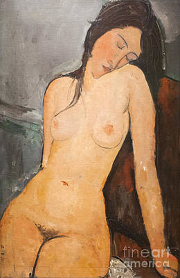 Female Nude By Amedeo Modigliani Poster by Roberto Morgenthaler