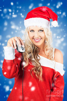 Female Santa Claus Christmas Shopping Online Poster by Jorgo Photography - Wall Art Gallery
