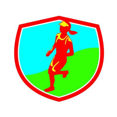 Female Triathlete Marathon Runner Shield  Poster by Aloysius Patrimonio