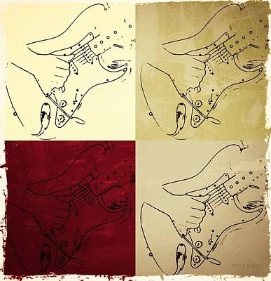 Fender Guitar Panel-quadriptych  Poster by Chris Berry