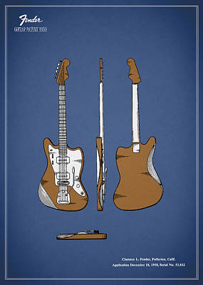 Fender Guitar Patent 1959 Poster by Mark Rogan