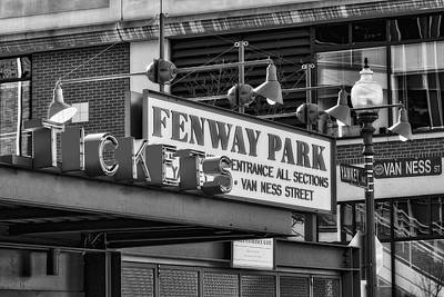 Fenway Park Tickets Bw Poster by Susan Candelario