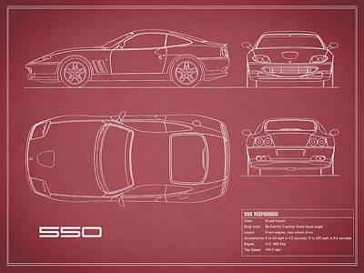 Ferrari 550 Blueprint - Red Poster by Mark Rogan