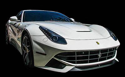 Ferrari F12 Berlinetta In White Poster by Samuel Sheats