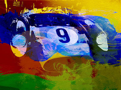Ferrari Testarossa Watercolor Poster by Naxart Studio