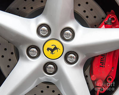 Ferrari Wheel Closeup Poster by Colin Rayner