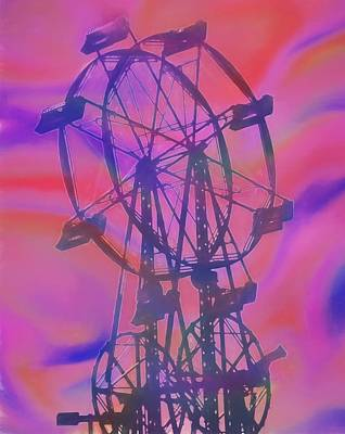 Ferris Wheel Swirly Colors Poster by Dan Sproul