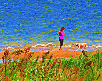 Playing Fetch With Dog Along The Shoreline Poster by Le Artman