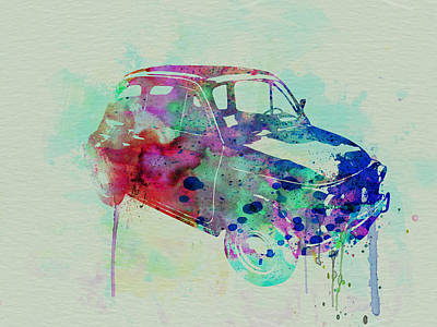 Fiat 500 Watercolor Poster by Naxart Studio