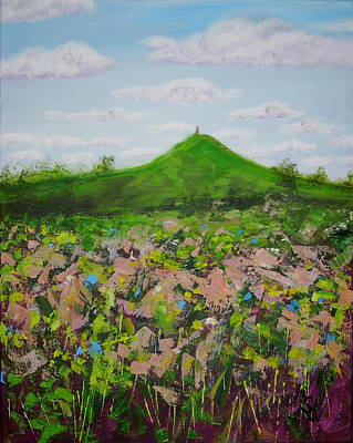 Fields To Glastonbury Tor Poster by Shirley Wellstead