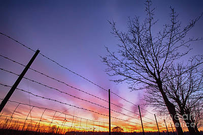 Fiery Norfolk Sunset Viewed Through Barbed Fence Poster by Simon Bratt Photography LRPS