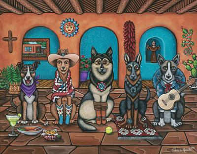 Fiesta Dogs Poster by Victoria De Almeida