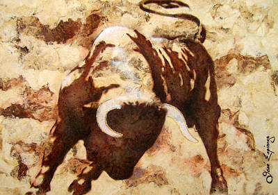 Tree Bark Poster featuring the painting Fight Bull by Jose Espinoza