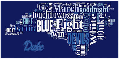 Fight Fight Blue Devils Poster by Paulette B Wright