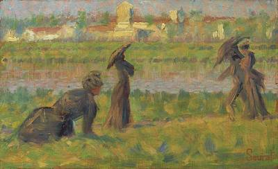 Figures In A Landscape Poster by Georges Seurat