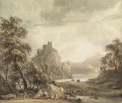 Figures In A Landscape With A Castle Beyond Poster by MotionAge Designs