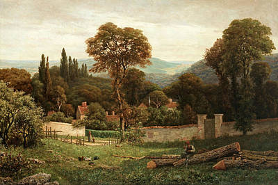 Figures In A Summer Landscape Poster by MotionAge Designs
