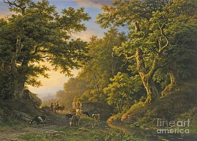 Figures In A Wooded Landscape Poster by Celestial Images