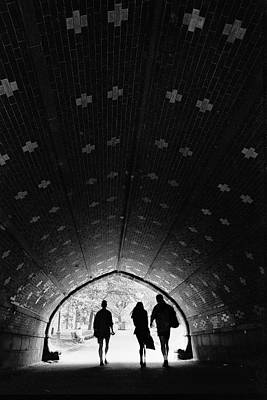 Figures In Tunnel Poster by Dave Beckerman