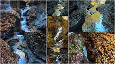 Finger Lakes Gorges Collage Poster by Jessica Jenney