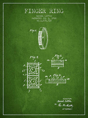 Finger Ring Patent From 1928 - Green Poster by Aged Pixel