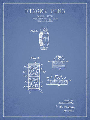 Finger Ring Patent From 1928 - Light Blue Poster by Aged Pixel