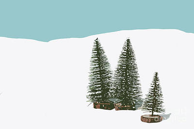 Fir Trees In The Snow Poster by Wolf Kettler