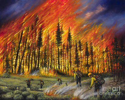 Fire Line 1 Poster by Ricardo Chavez-Mendez