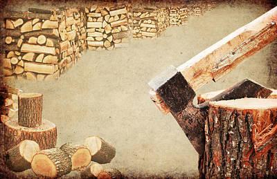 Fire Wood Concept.axe Chopping Log Poster by Boyan Dimitrov