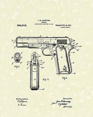 Firearm 1911 Patent Art Poster by Prior Art Design