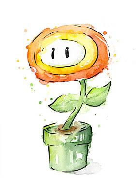 Fireflower Watercolor Painting Poster by Olga Shvartsur