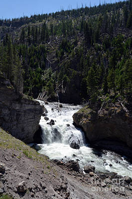 Firehole Falls Landscape Firehole River In Yellowstone National Park Poster by Shawn O'Brien