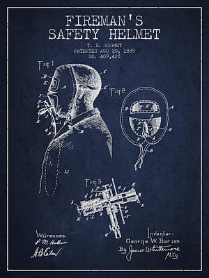Firemans Safety Helmet Patent From 1889 - Navy Blue Poster by Aged Pixel