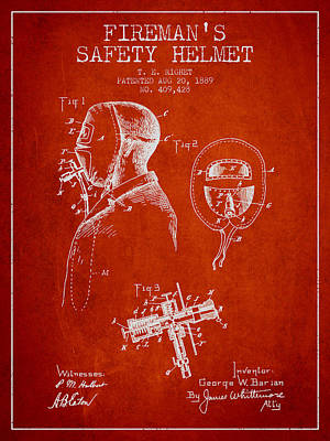 Firemans Safety Helmet Patent From 1889 - Red Poster by Aged Pixel