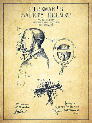 Firemans Safety Helmet Patent From 1889 - Vintage Poster by Aged Pixel